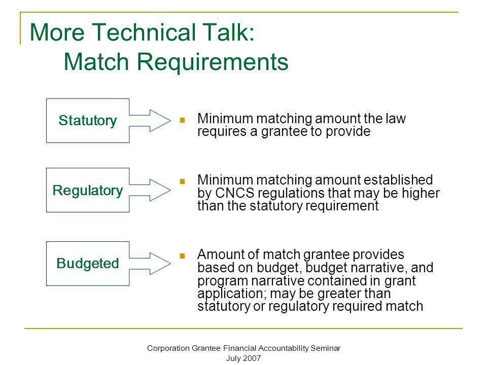 More Technical Talk: Match Requirements