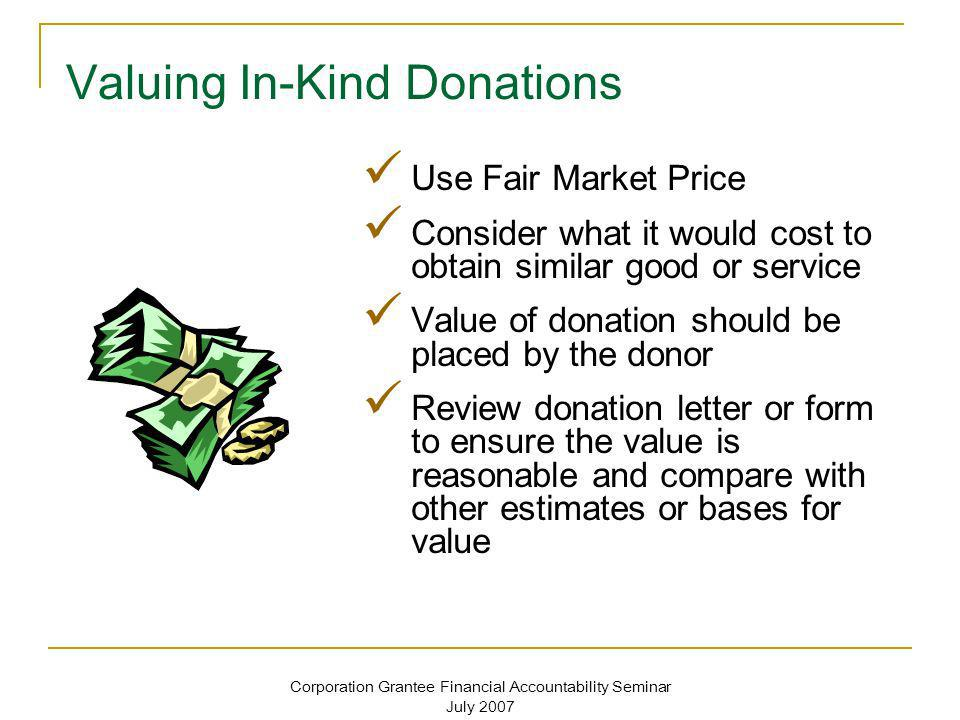 Valuing In-Kind Donations