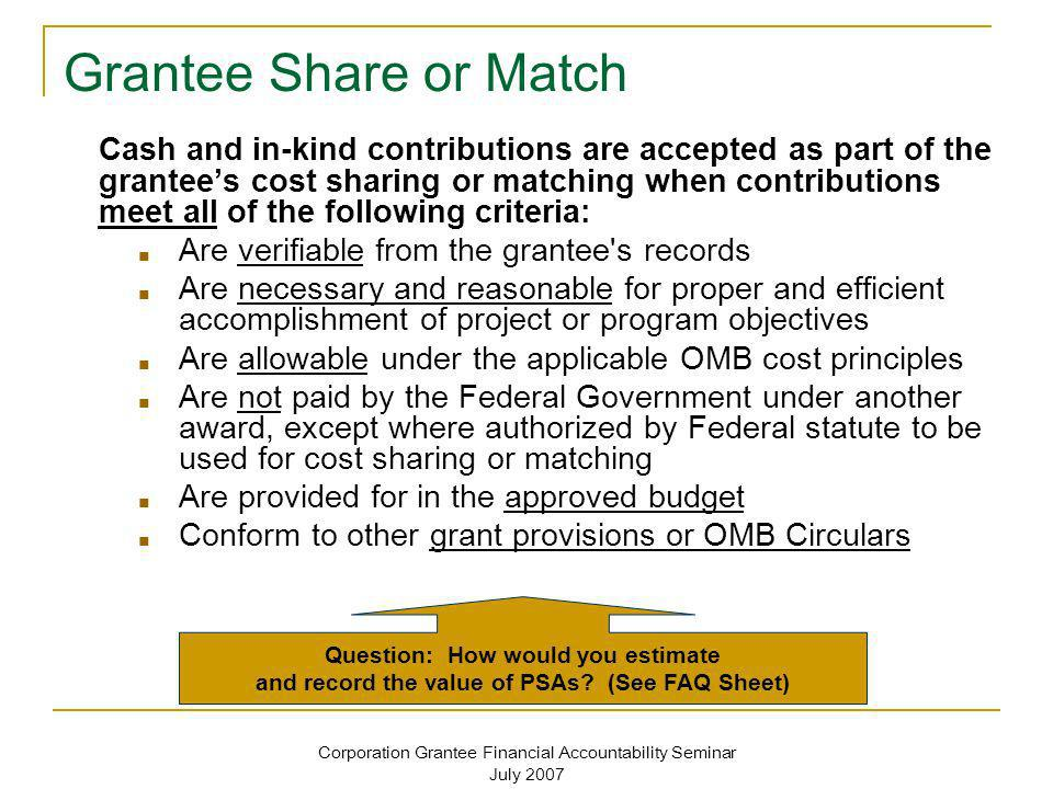 Grantee Share or Match