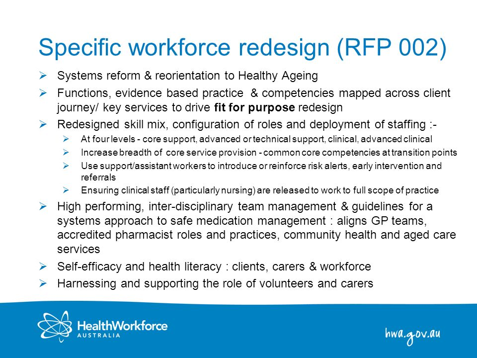 Specific workforce redesign (RFP 002)