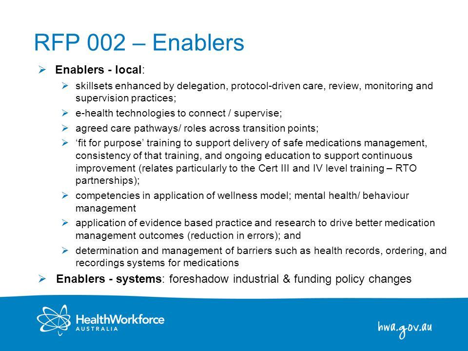 RFP 002 – Enablers Enablers - local: