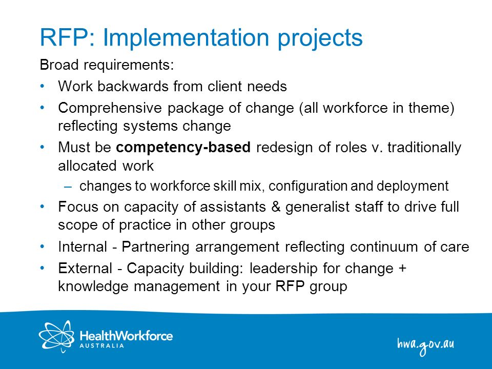 RFP: Implementation projects