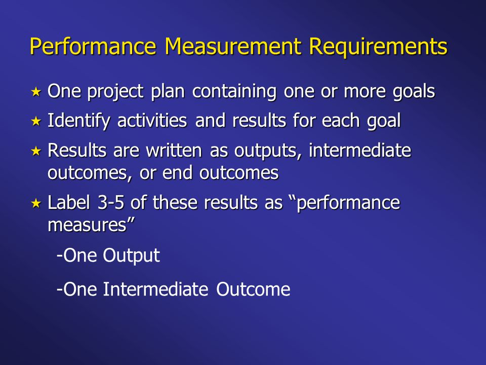 Performance Measurement Requirements