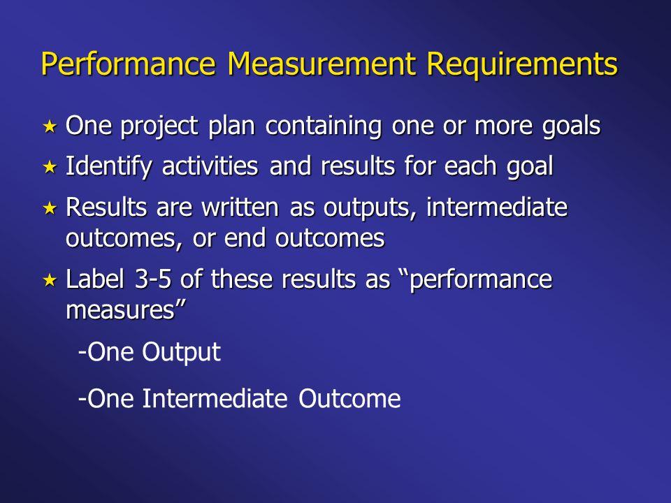 Performance Measurement Requirements