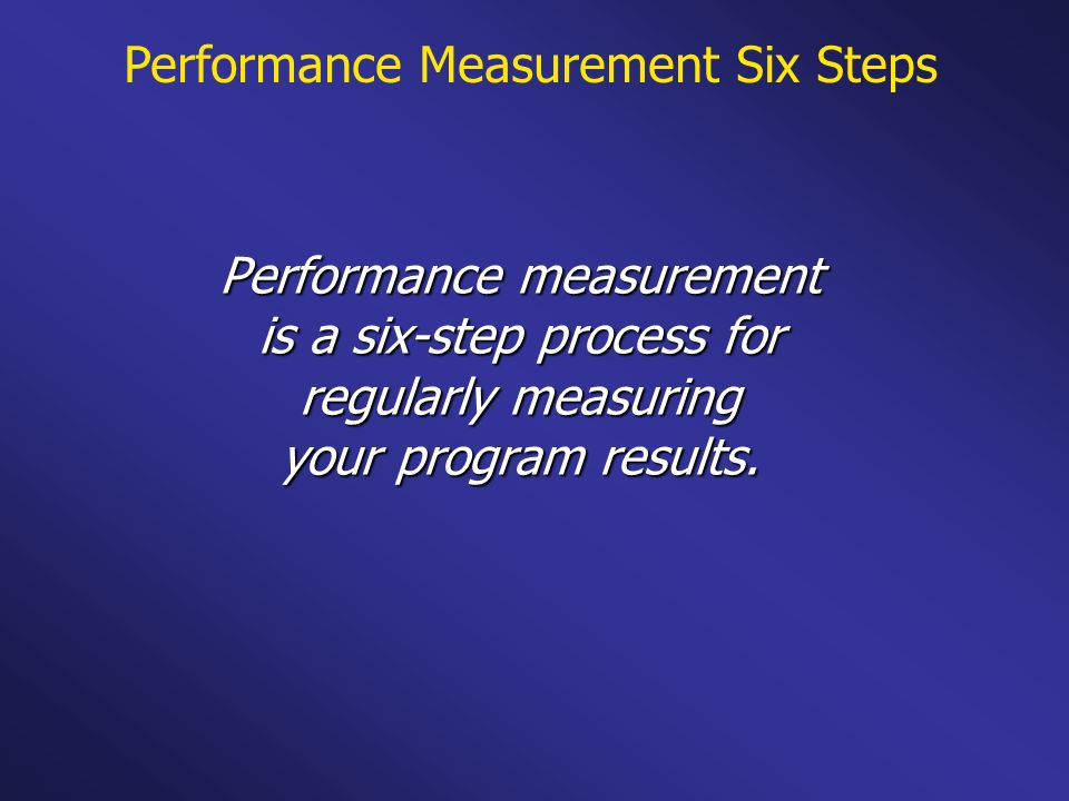 Performance Measurement Six Steps