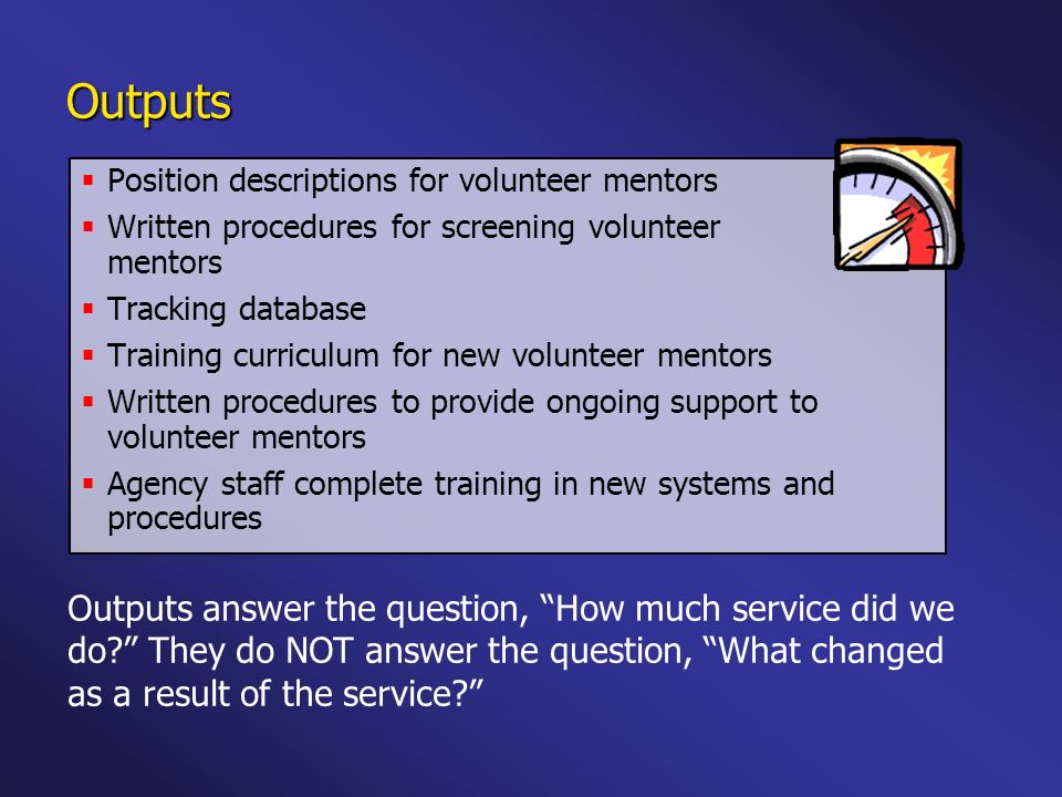 Outputs Position descriptions for volunteer mentors. Written procedures for screening volunteer mentors.