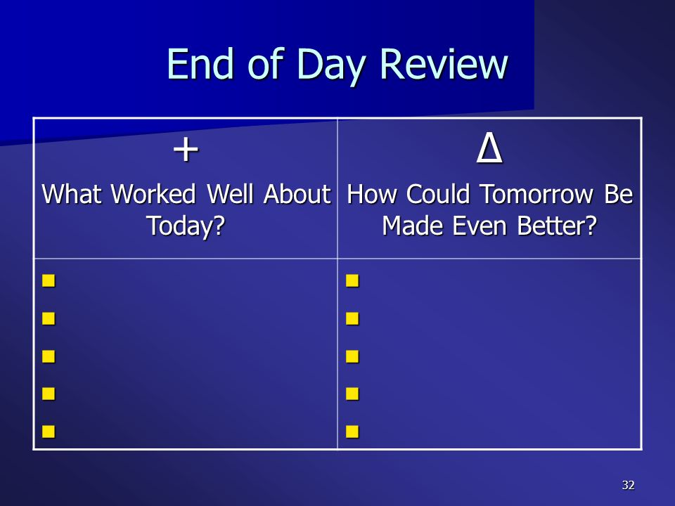 End of Day Review + ∆ What Worked Well About Today