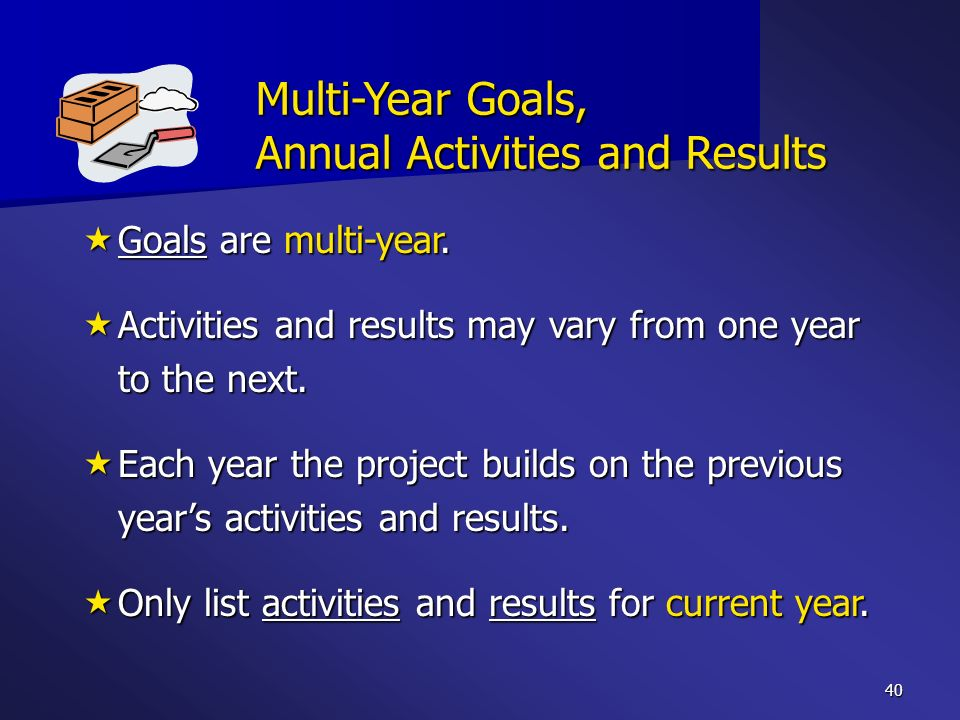 Multi-Year Goals, Annual Activities and Results