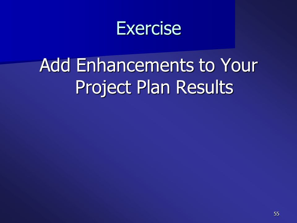 Add Enhancements to Your Project Plan Results