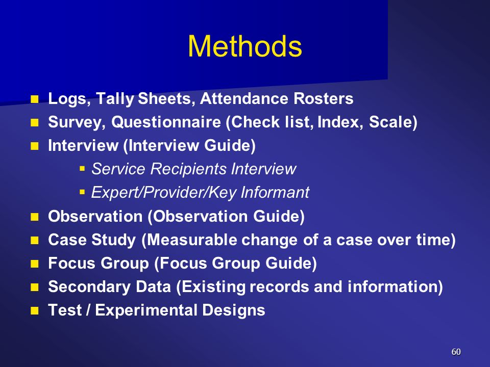 Methods Logs, Tally Sheets, Attendance Rosters