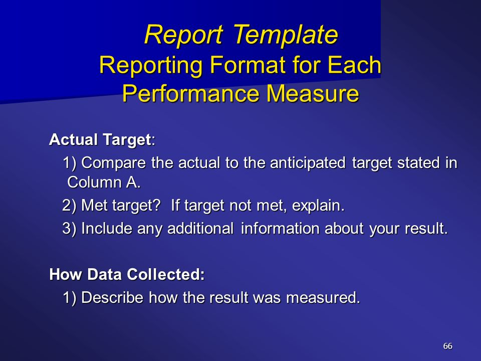Report Template Reporting Format for Each Performance Measure
