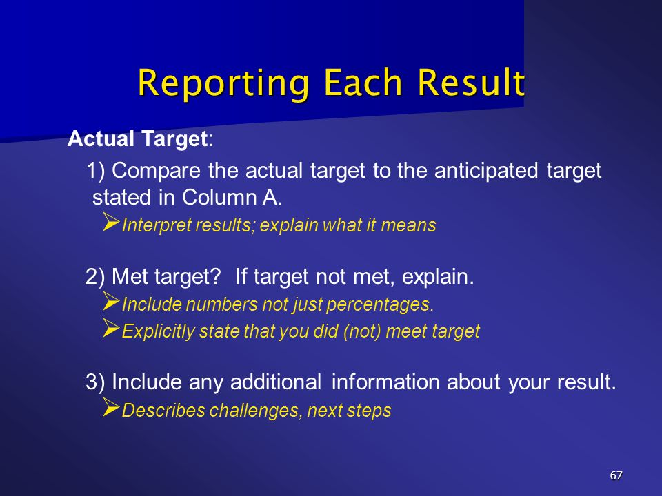 Reporting Each Result Actual Target: