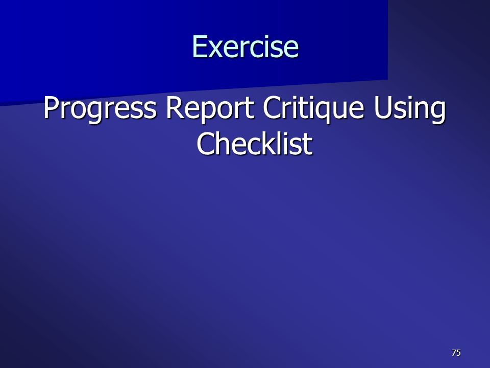 Progress Report Critique Using Checklist