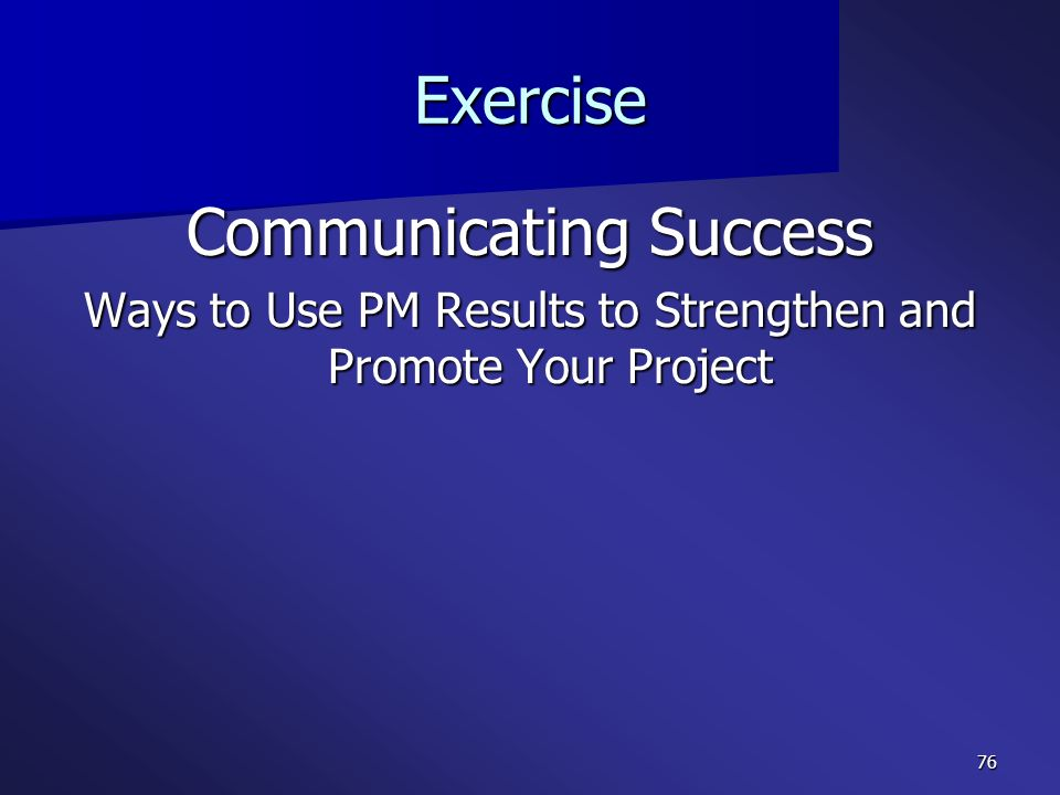 Communicating Success