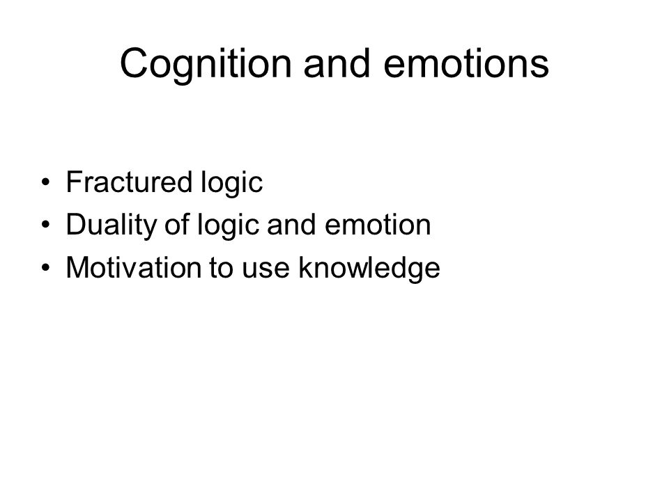 Cognition and emotions