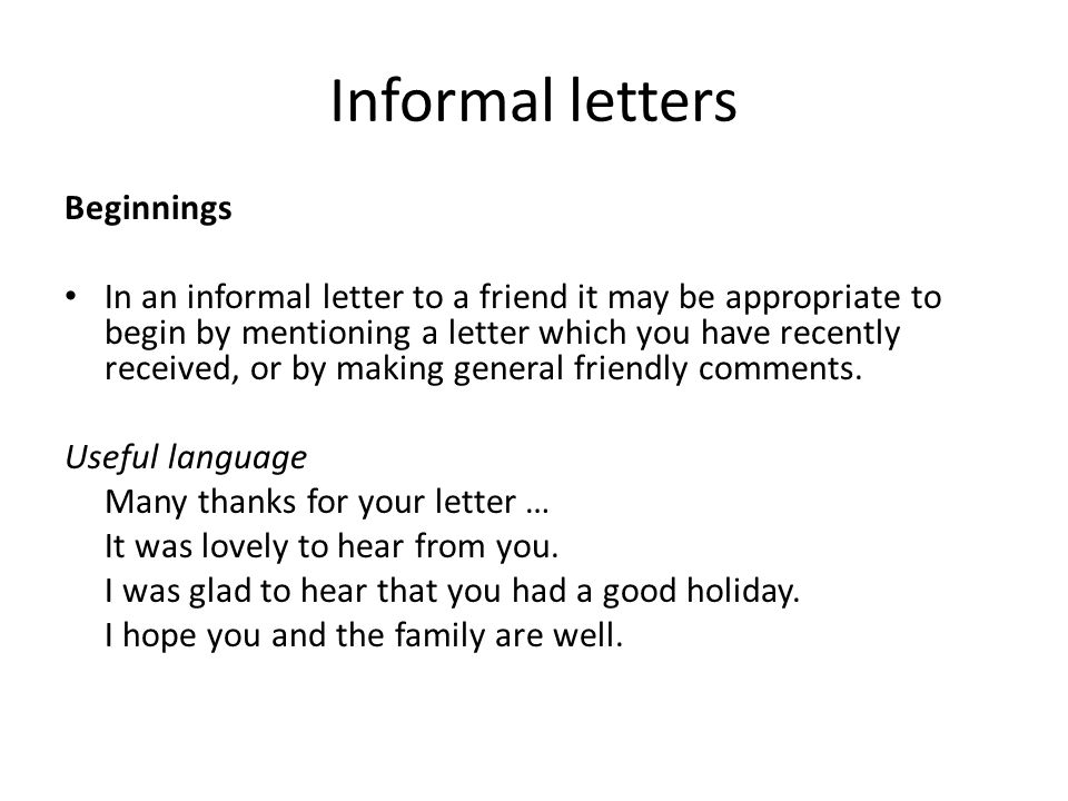 informal letters beginnings