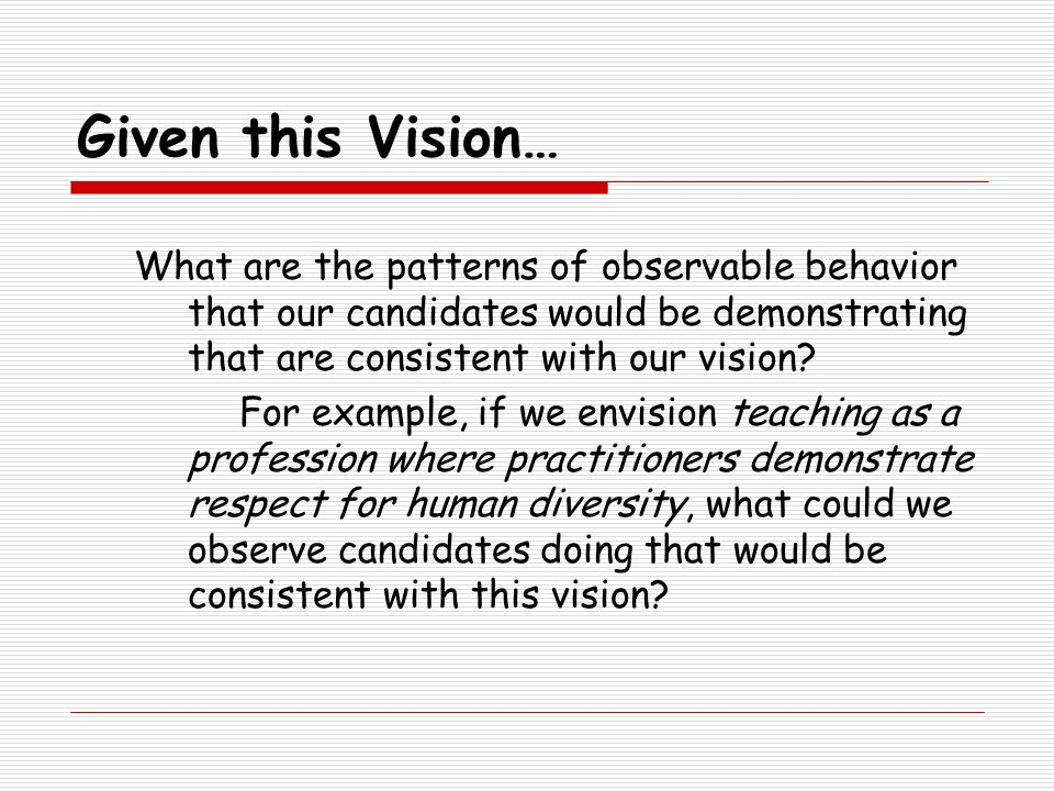 Given this Vision… What are the patterns of observable behavior that our candidates would be demonstrating that are consistent with our vision