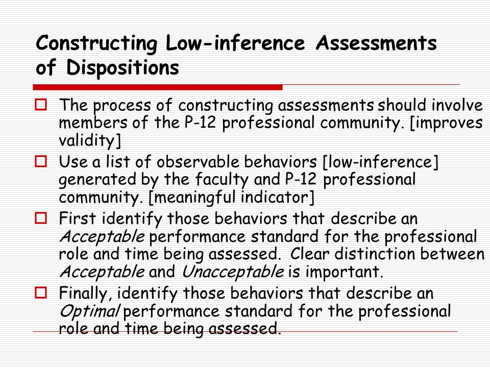 Constructing Low-inference Assessments of Dispositions