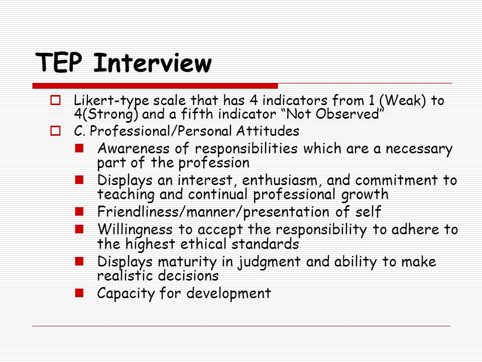 TEP Interview Likert-type scale that has 4 indicators from 1 (Weak) to 4(Strong) and a fifth indicator Not Observed