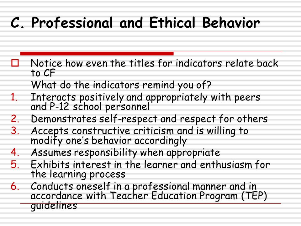 C. Professional and Ethical Behavior