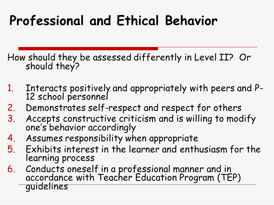 Professional and Ethical Behavior
