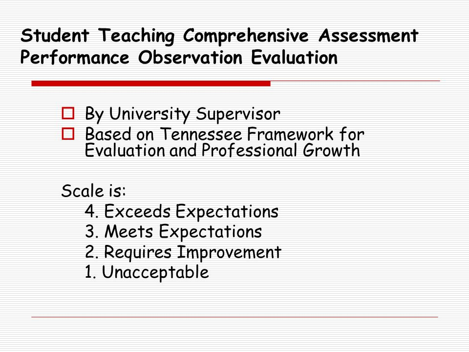 Student Teaching Comprehensive Assessment Performance Observation Evaluation