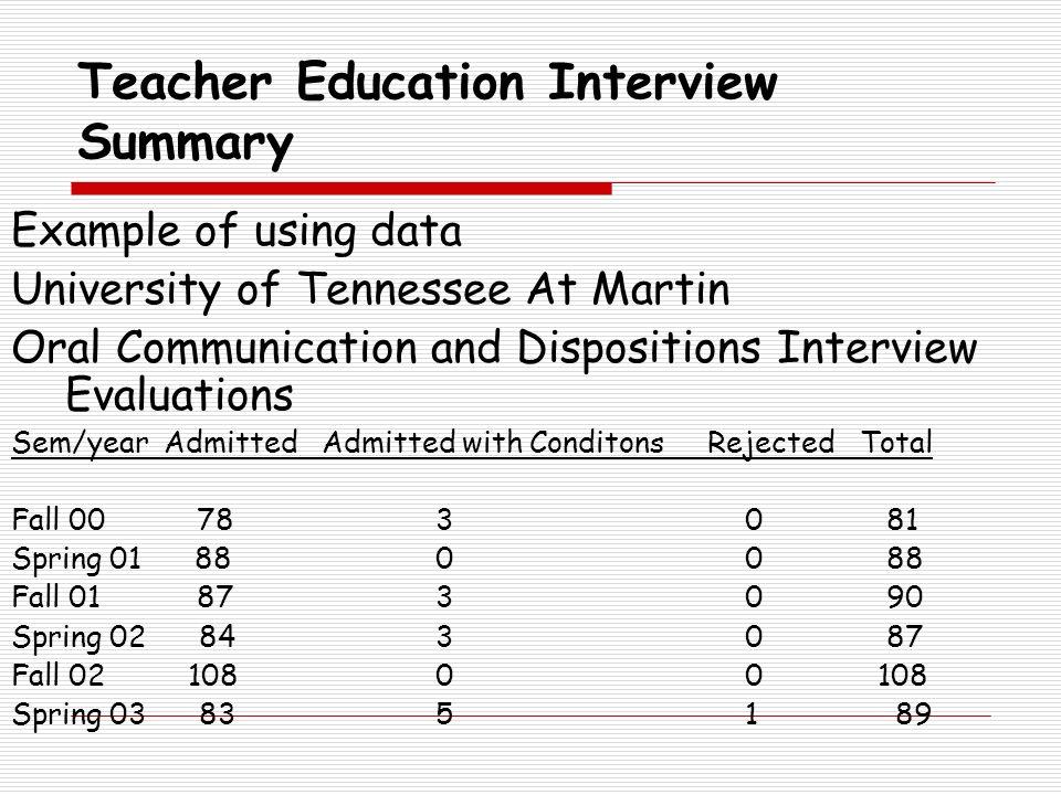 Teacher Education Interview Summary