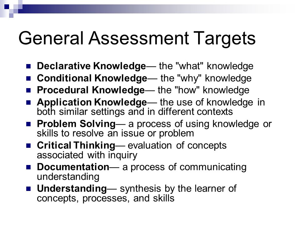 General Assessment Targets