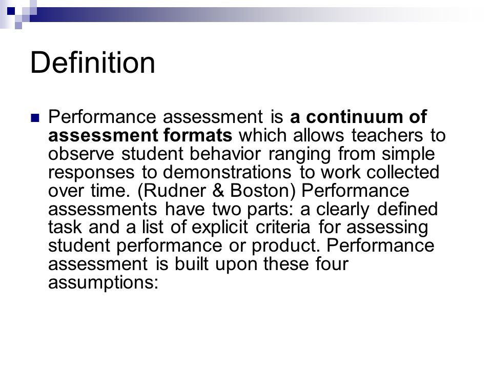 Beautiful 4 Definition Performance Assessment ...