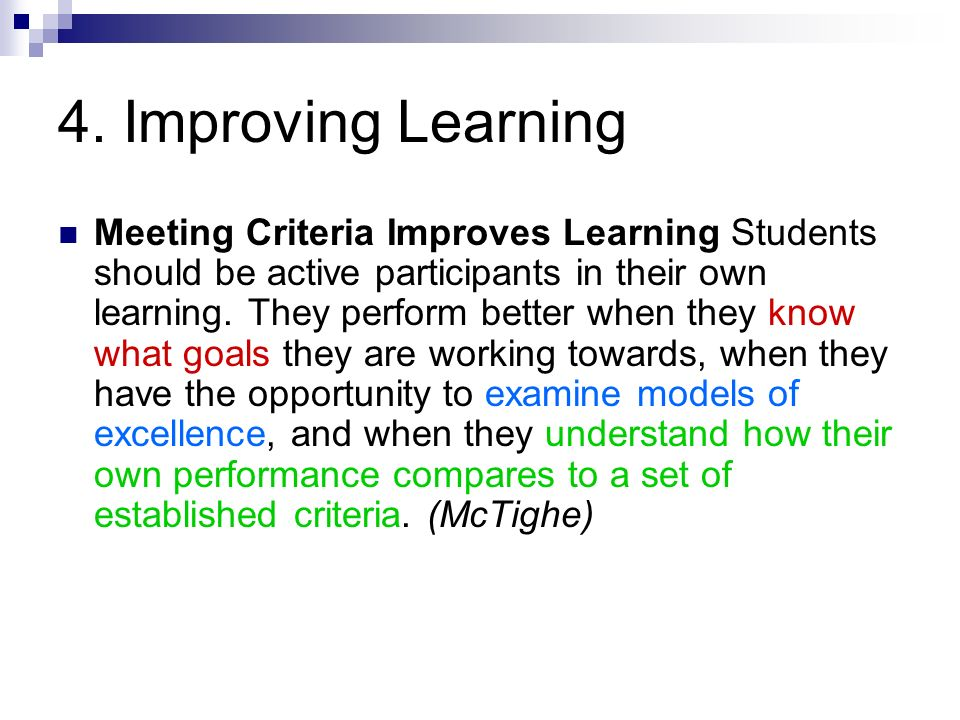 4. Improving Learning