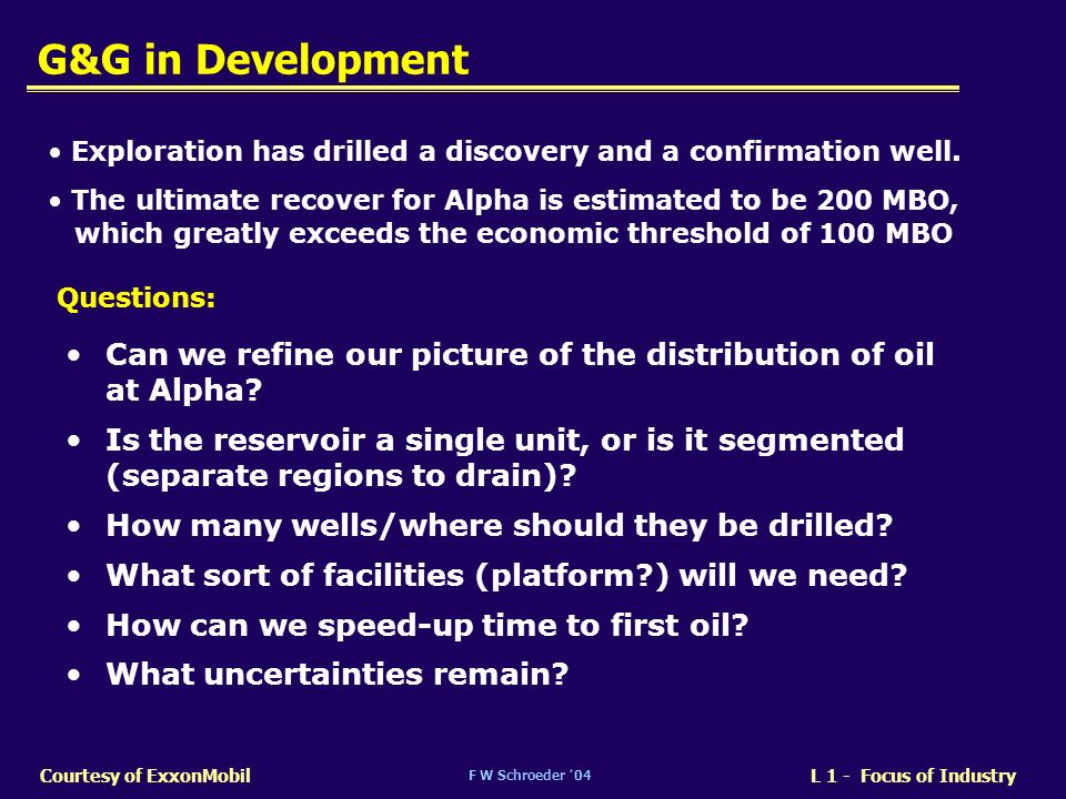 G&G in Development Exploration has drilled a discovery and a confirmation well. The ultimate recover for Alpha is estimated to be 200 MBO,