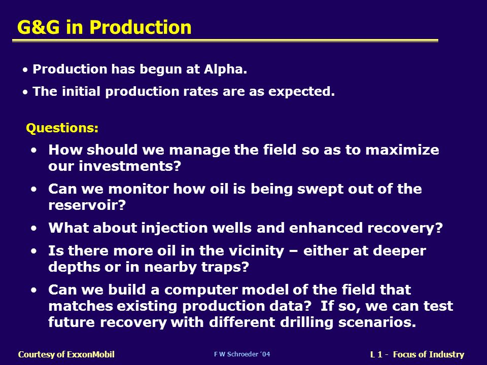 G&G in Production Production has begun at Alpha. The initial production rates are as expected. Questions: