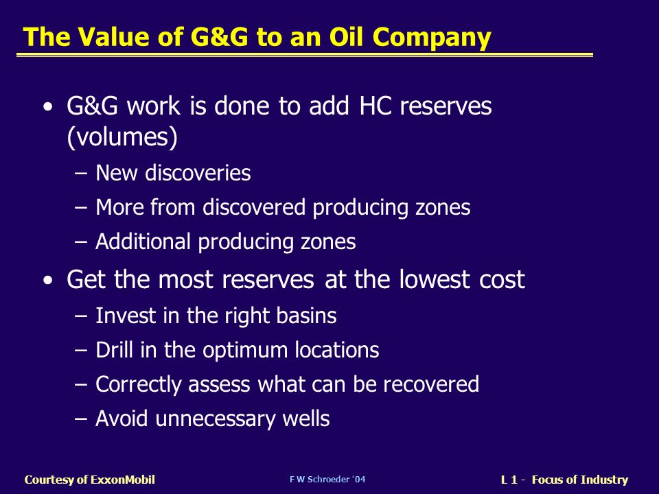 The Value of G&G to an Oil Company