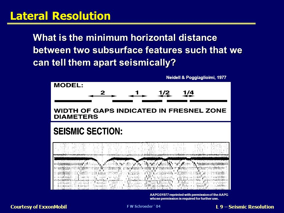 Lateral Resolution What is the minimum horizontal distance between two subsurface features such that we can tell them apart seismically