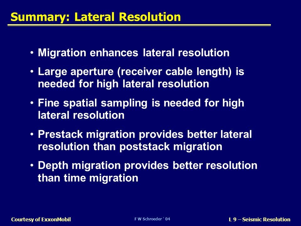Summary: Lateral Resolution