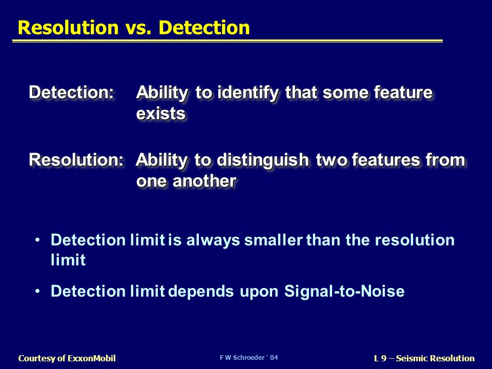 Resolution vs. Detection