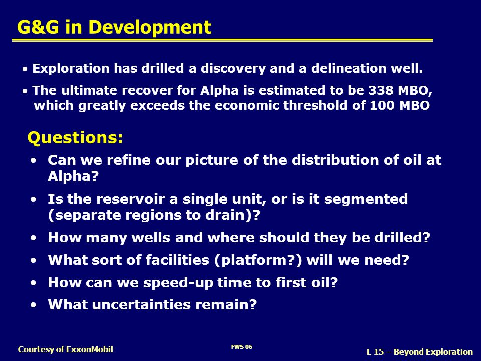 G&G in Development Questions: