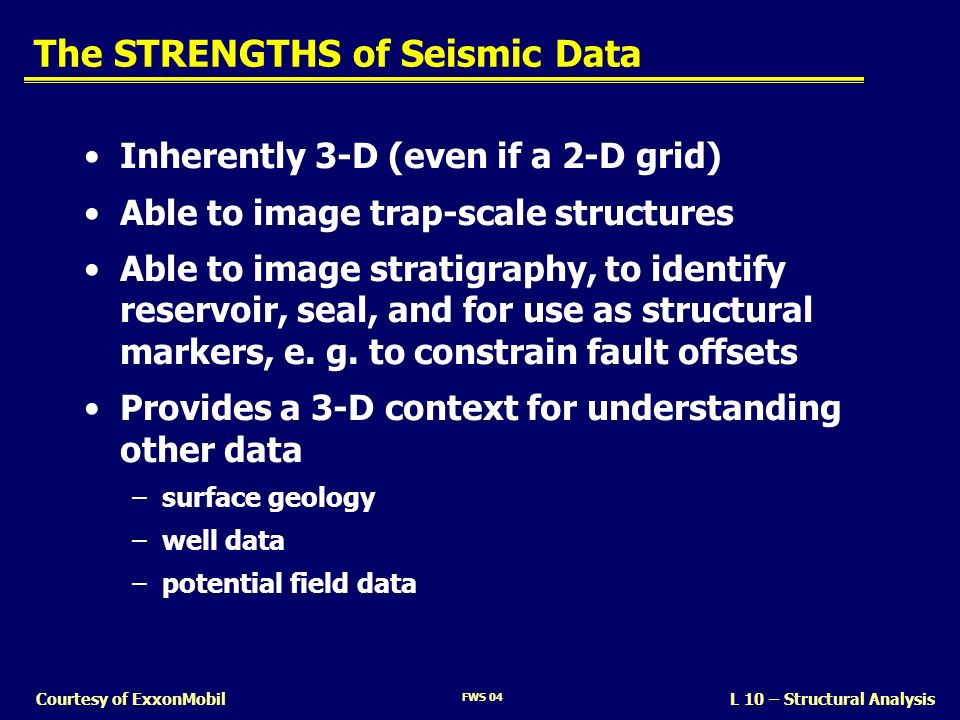The STRENGTHS of Seismic Data