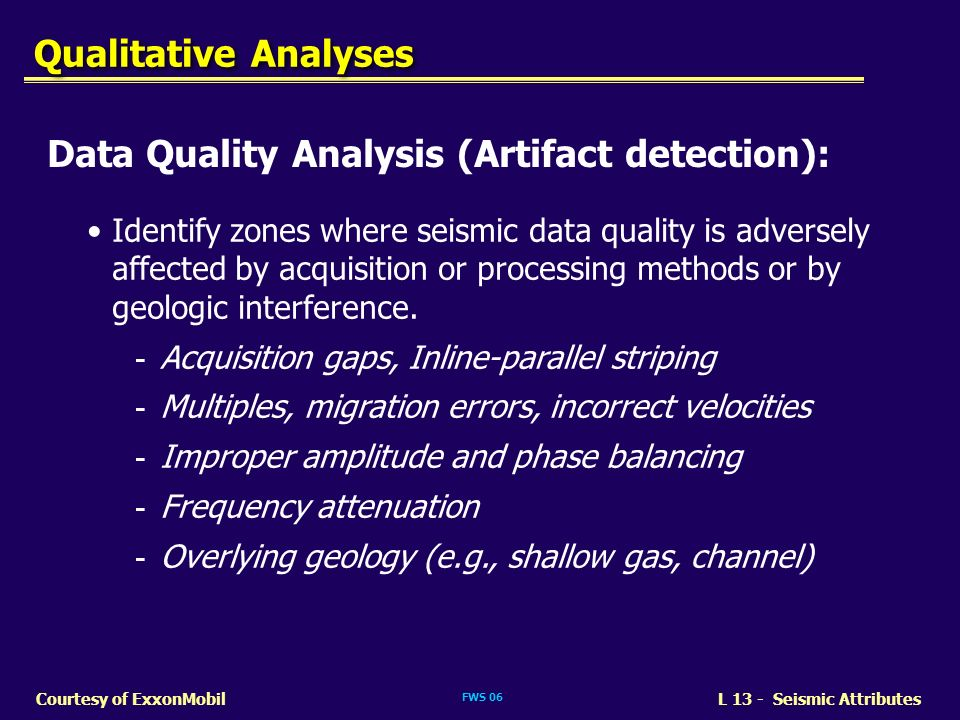 Data Quality Analysis (Artifact detection):