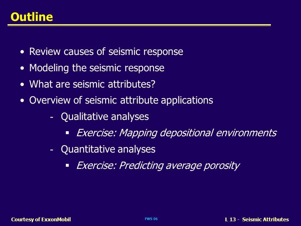 Outline Review causes of seismic response