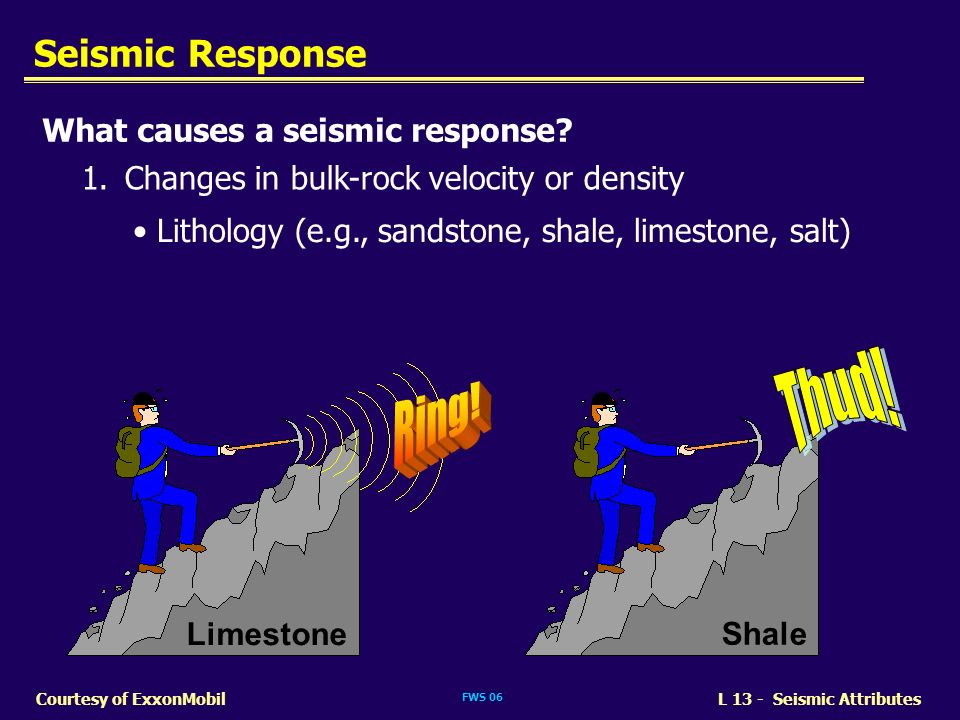 Thud! Ring! Seismic Response What causes a seismic response