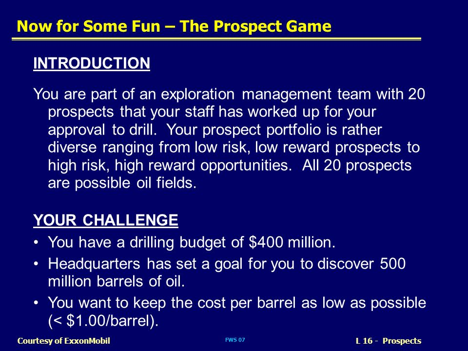 Now for Some Fun – The Prospect Game