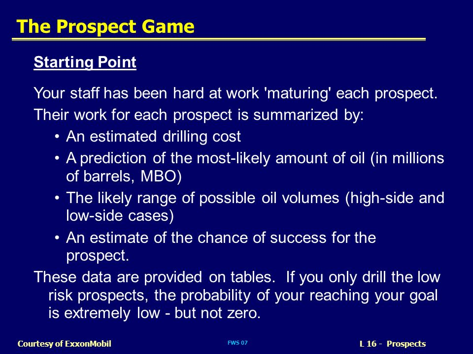 The Prospect Game Starting Point