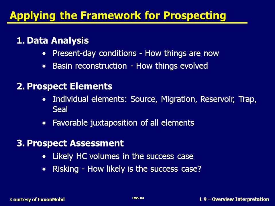 Applying the Framework for Prospecting