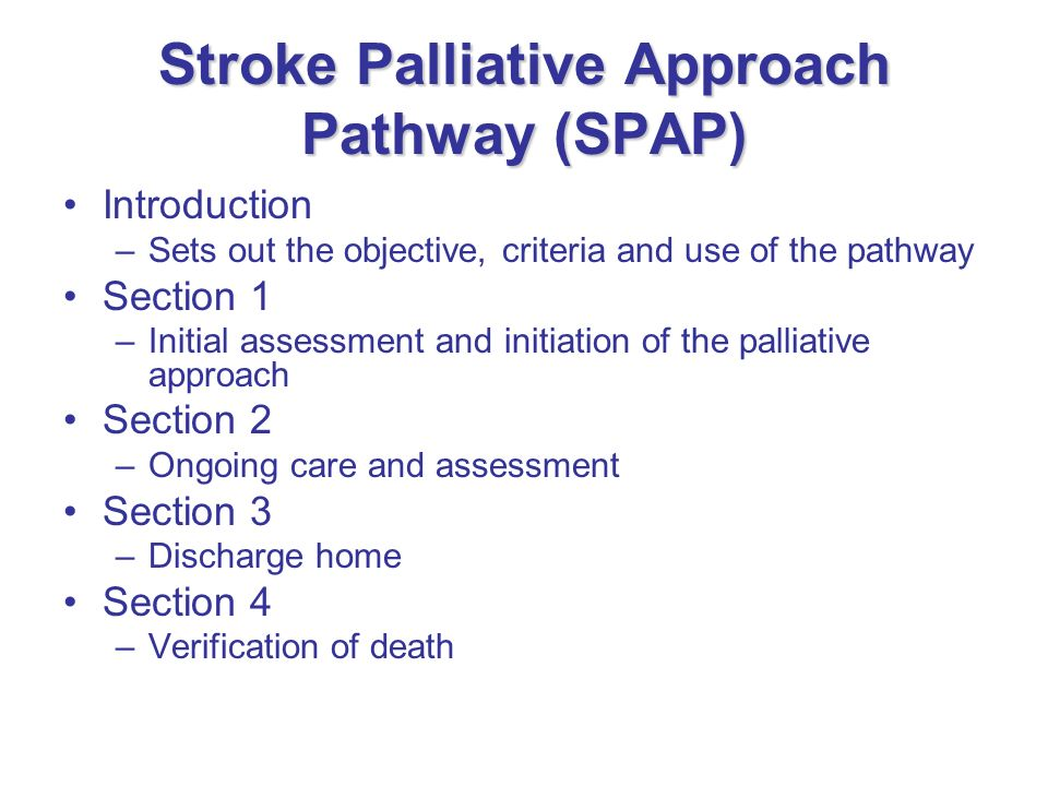 Stroke Palliative Approach Pathway (SPAP)