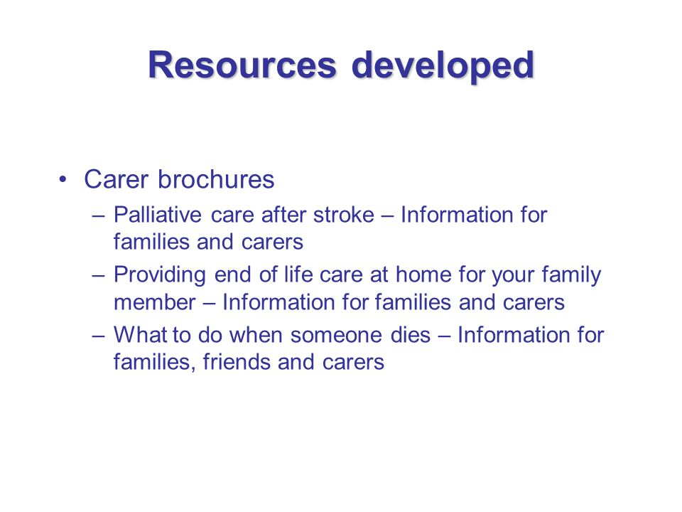 Resources developed Carer brochures