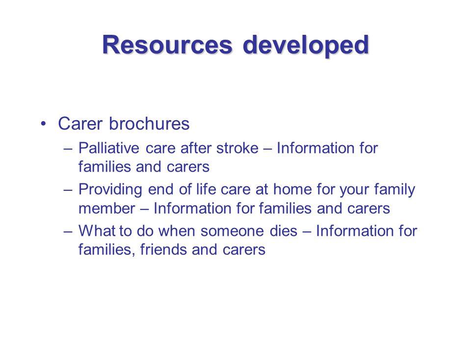 Resources developed Carer brochures