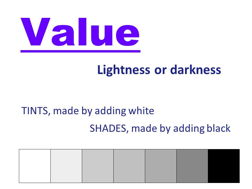 Value Lightness or darkness TINTS, made by adding white