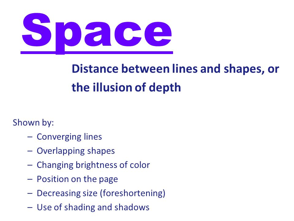 Space Distance between lines and shapes, or the illusion of depth