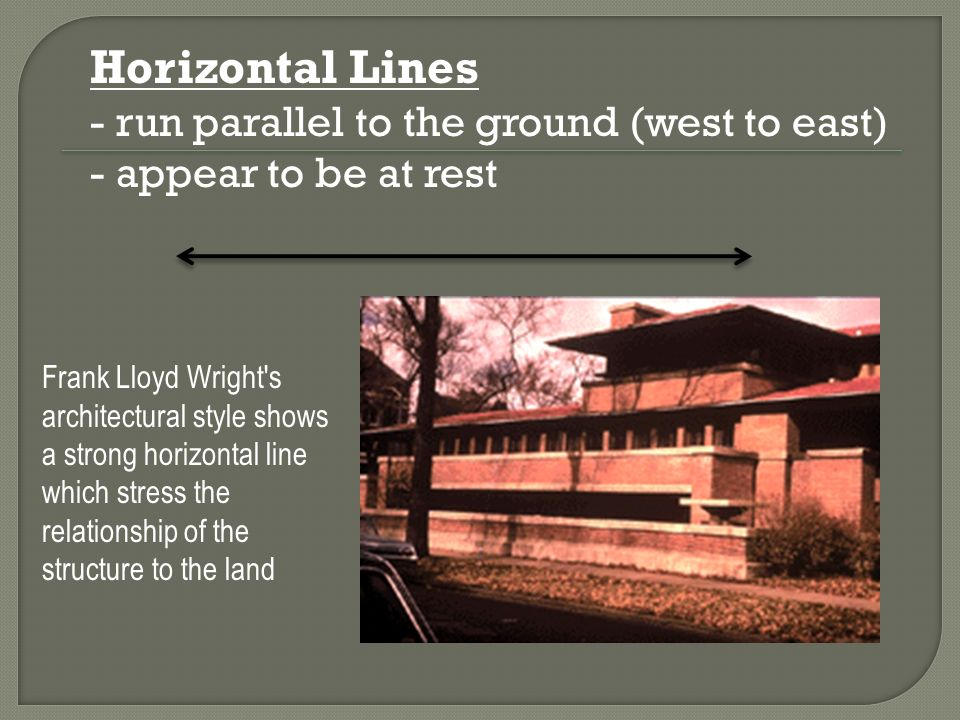 Horizontal Lines - run parallel to the ground (west to east)
